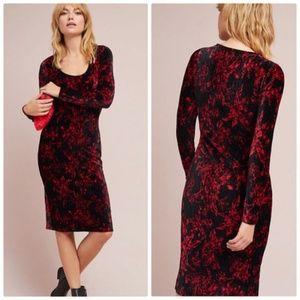 Anthropologie HD Paris Velvet Moody Floral Dress